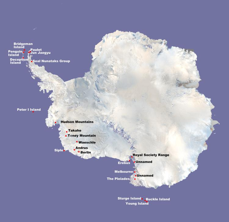Map of Antarctica showing active, quiescent and dormant volcanoes